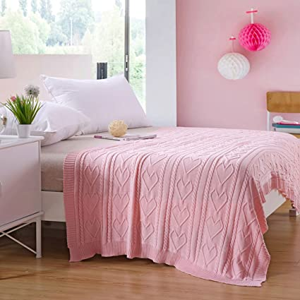 Exceptionnel Girls Pink Throw Blanket Hearts Design TV Blanket Pink Throws For Bedroom Sofa  Couch, 43x55