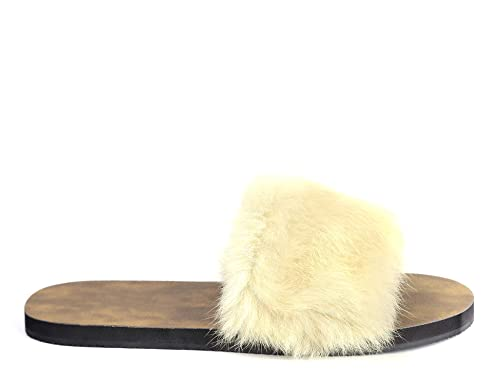 51232c5dbf01 MaxMuxun Ladies Womens Faux Fur Slider Mules Slipper Sandals Flat Shoes   Amazon.co.uk  Shoes   Bags