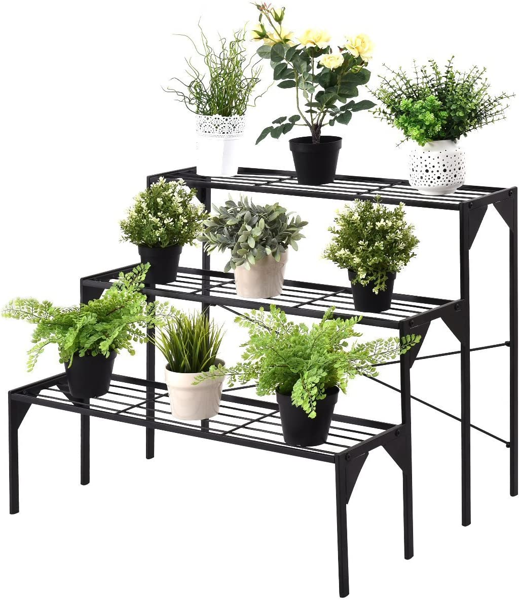 Giantex 3 Tiers Metal Plant Stand, Ladder Flower Pots Holders, 3 Tiers Step Plant Display Rack, Heavy Duty Utility Storage Organizer Rack for Home Garden Patio Balcony, Stair Style Plant Stand