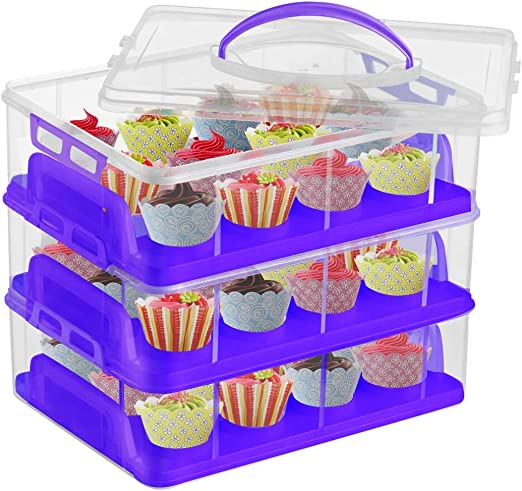 Store up to 36 Cupcakes or 3 Large Cakes Cupcake Holder Container Box White IVYHOME 3-Tier Cupcake Carrier