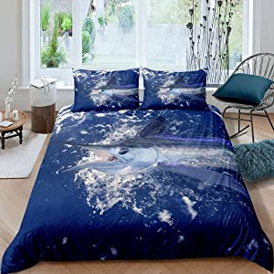Marlin Swordfish Comforter Cover Navy Blue Ocean Duvet Cover Nautical Deep Sea Fish Bedding Set For Kids Boys Girls Seafood Fishermen Coastal Quilt Cover Bedroom Decor With 1 Pillow Case Twin Size