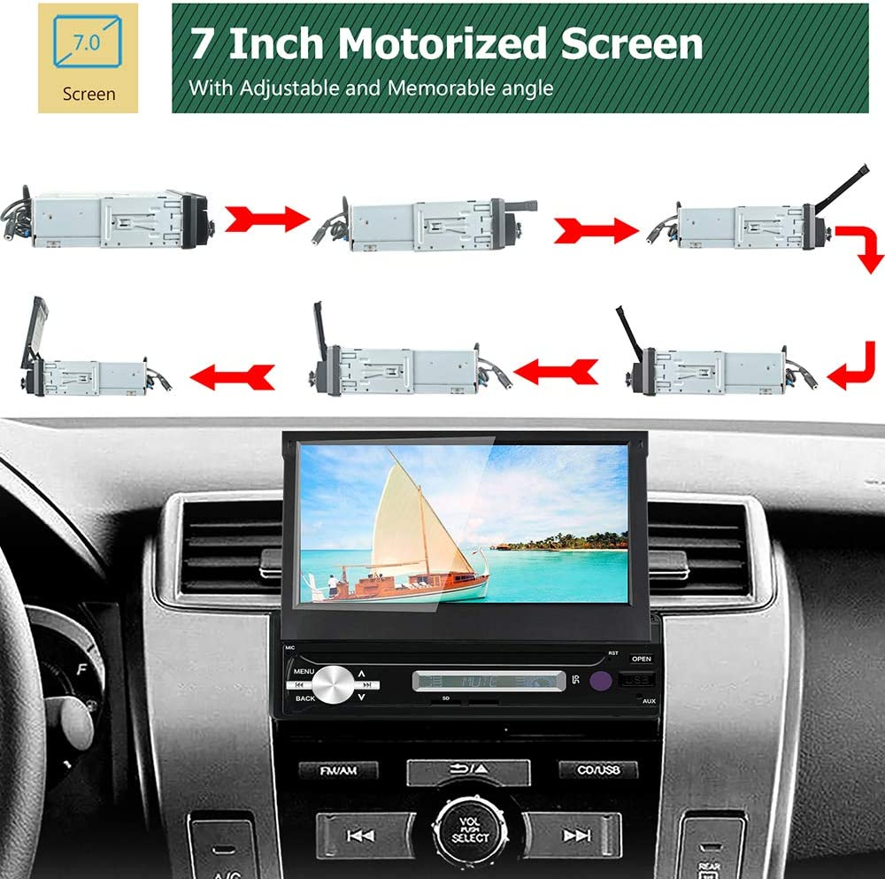 LEXXSON Single Din Android Car Stereo with GPS Navi Bluetooth Wifi inch Flip Out Motorised Screen Android Car Radio RAM 16G ROM support USB AUX RDS DAB Mirror Link