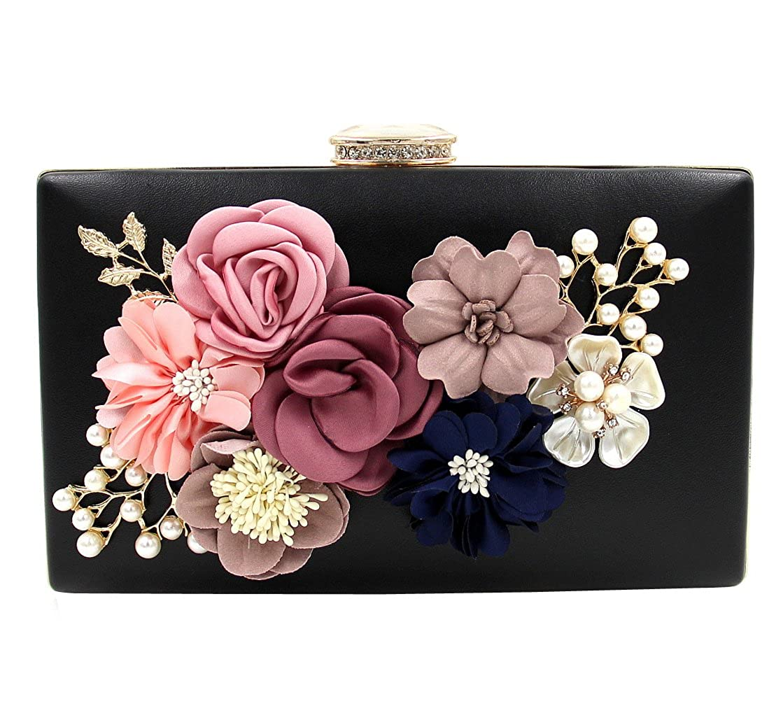 Zakia Satin Flower Dinner Clutch Pearl Beaded Evening Hand Bag