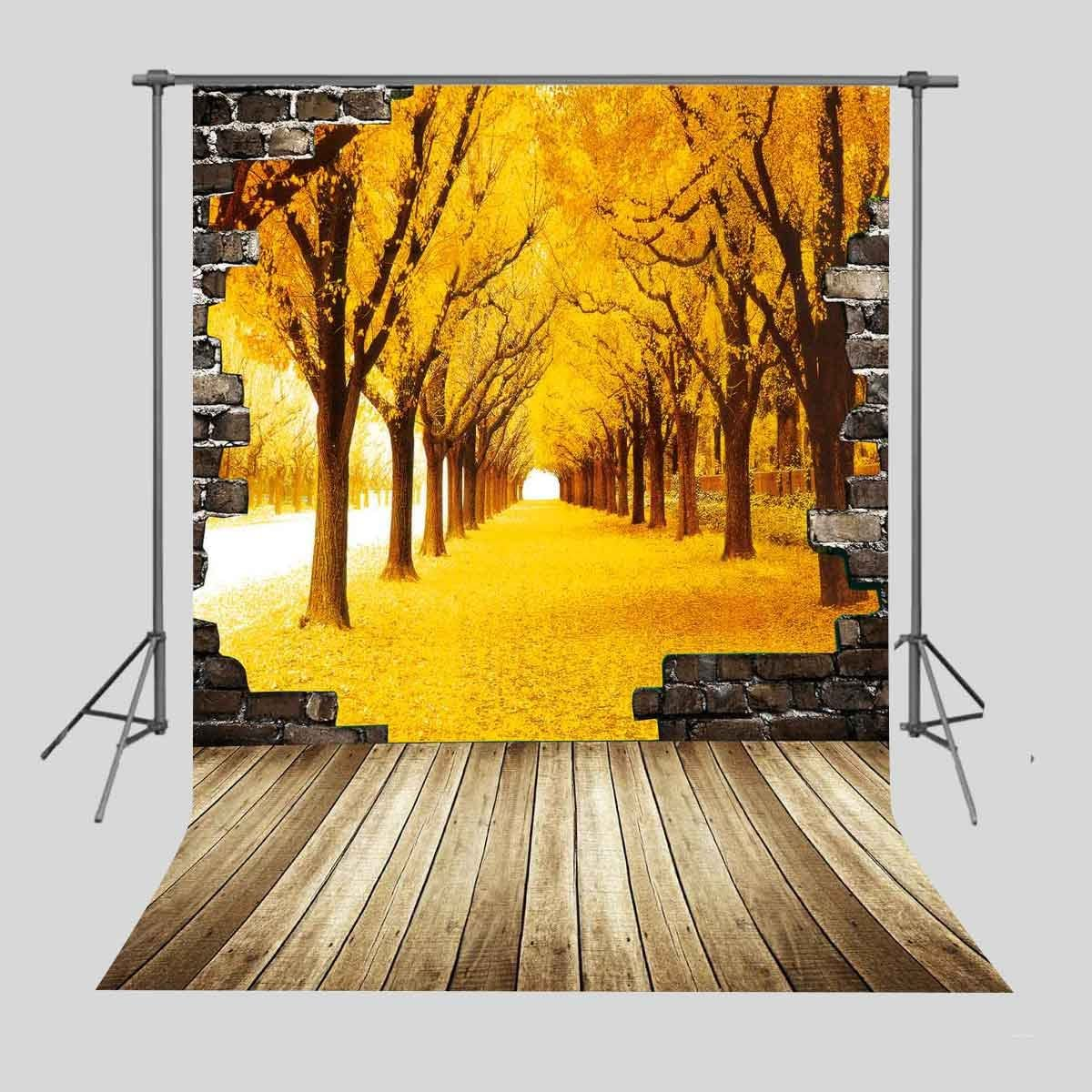 FUERMOR Background 5x7ft Golden Trees Leaves Wood Floor Photography Backdrop Studio Photo Props Wall Mural LXFU075