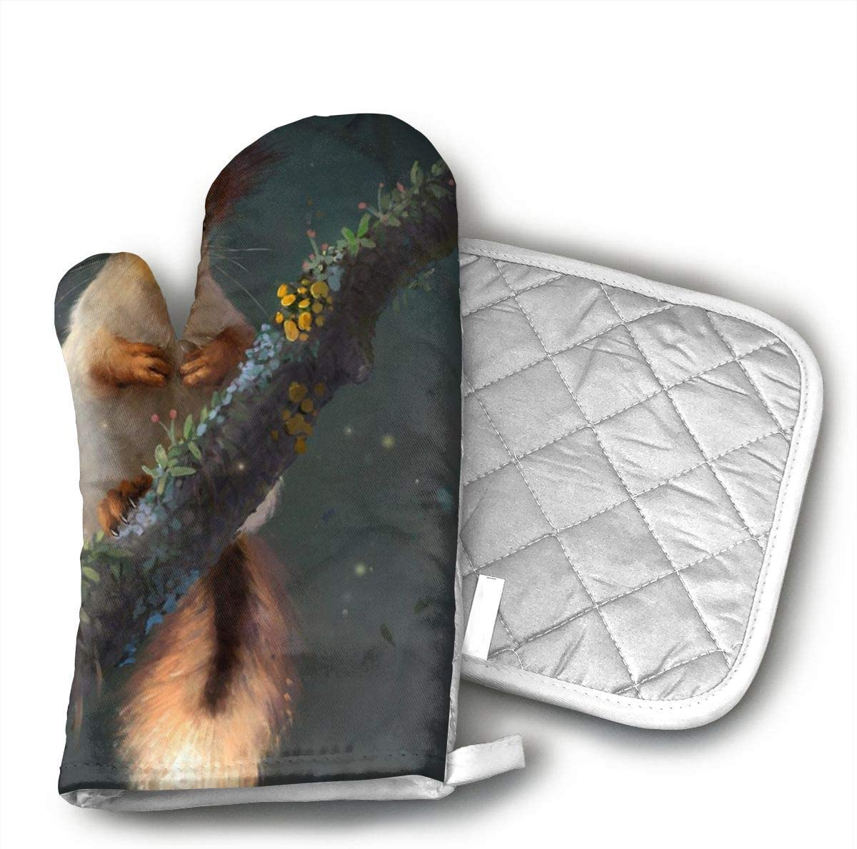 not Pet Squirrel Oven Mitts,Microwave Mitts,Kitchen Glove Heat Resistant,Baking,Barbecue Potholder
