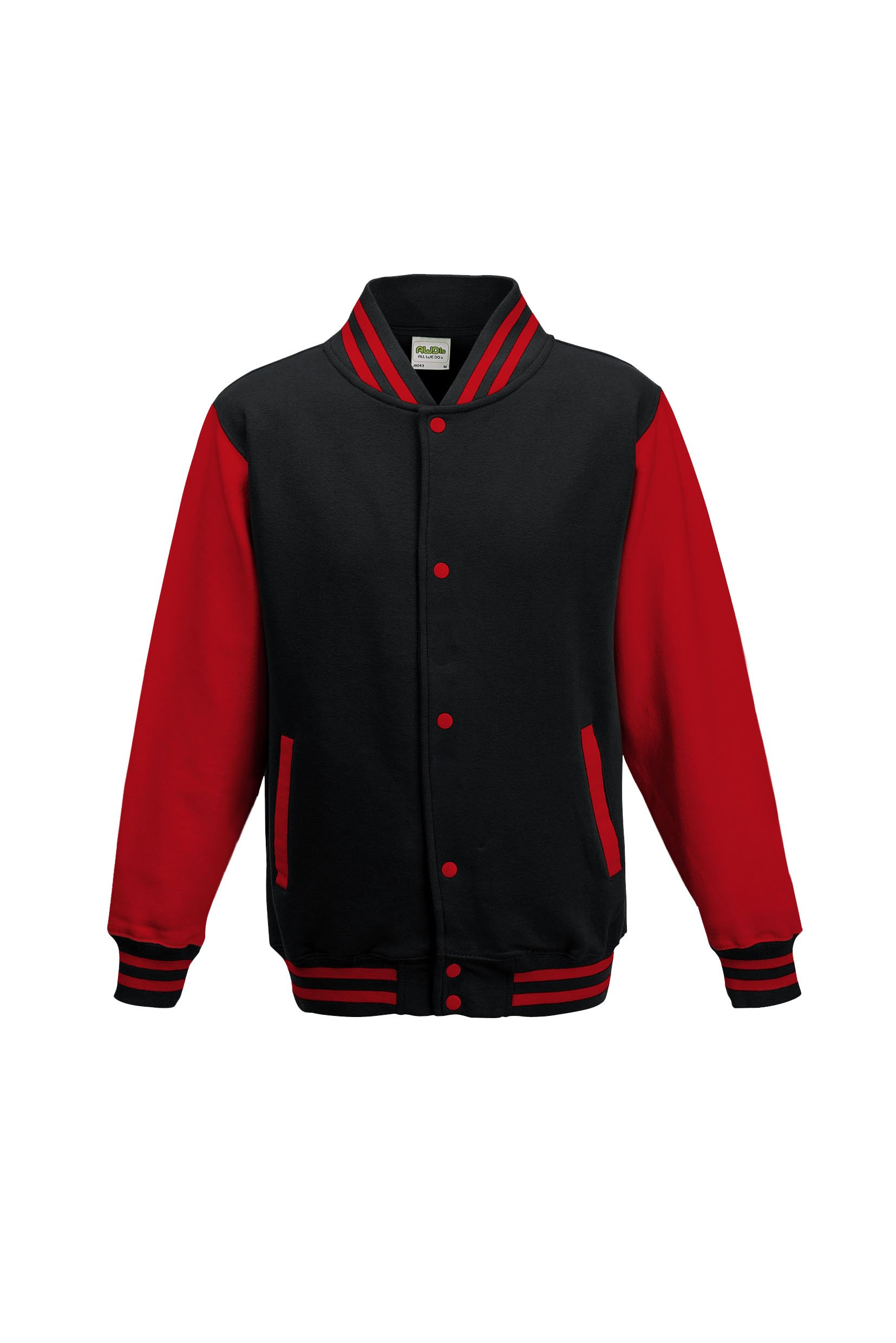AWDis Hoods Big Boys' Varsity Letterman Jacket (Ages 9 - 11 (chest 32in), Jet Black / Fire Red)