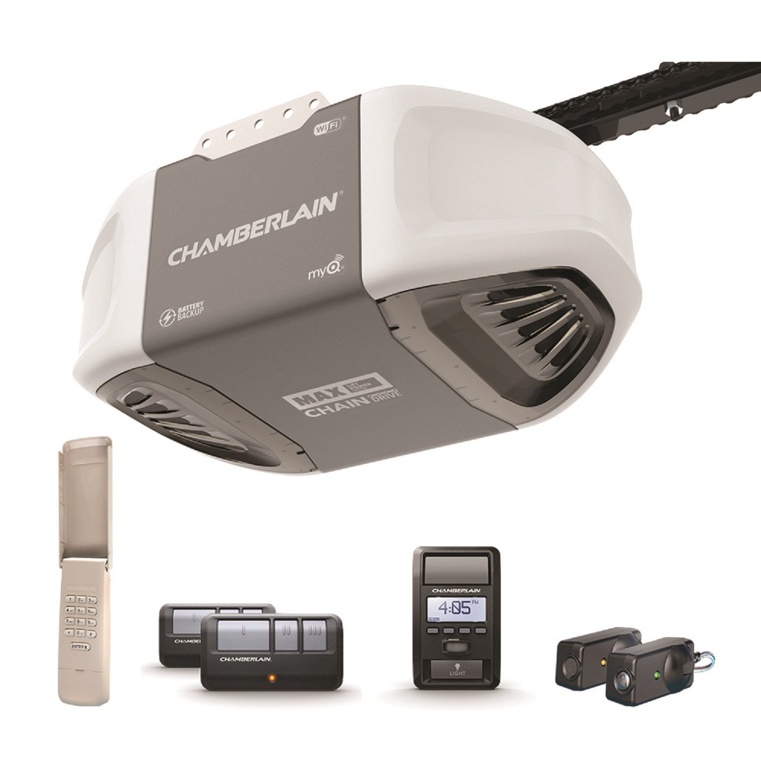 Chamberlain Group C870 Smartphone-Controlled Durable Chain Drive Garage Door Opener with Battery Backup and MAX Lifting Power, Pewter
