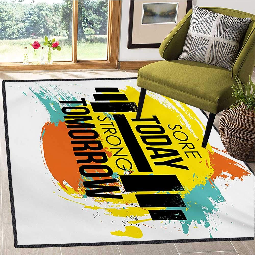 Fitness, Bath Mats Carpet, Sore Today Strong Tomorrow Gym Quote Typography Colorful Energetic Brushstrokes, Bath Mat for tub Bathroom Mat 6x9 Ft Multicolor