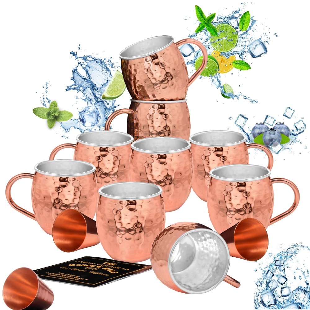 Set of 8 Moscow Mule Copper Mugs with Stainless-Steel Lining   Heavy-Duty Double Wall Lined Barrel Shape Copper Mugs + 1 Bonus Mug (9 Total) + 3 Copper Shot Glasses   Hammered, Insulated Cups by Urban Vintage LA
