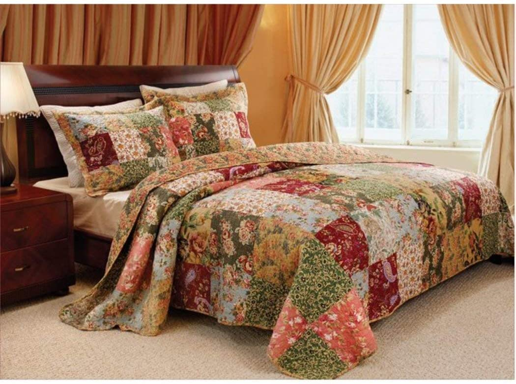 3pc Oversized Queen Bedspread Quilt Set Floor, Floral Paisley Prints, French Country Patchwork Pattern, Red Coral Moss Sage Green Mustard Yellow Golden Tan Navy Blue Colors