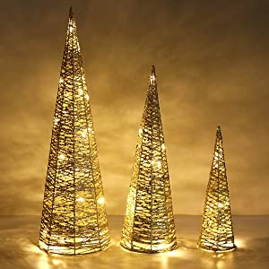 """Lewondr Christmas Cone Tree LED Light, 3 Pieces Battery Powered Exquisite Decorative Light Glittering Xmas Tree for Indoor Outdoor Use Festival Decorations Home Décor (24""""/18""""/12"""") - Gold"""