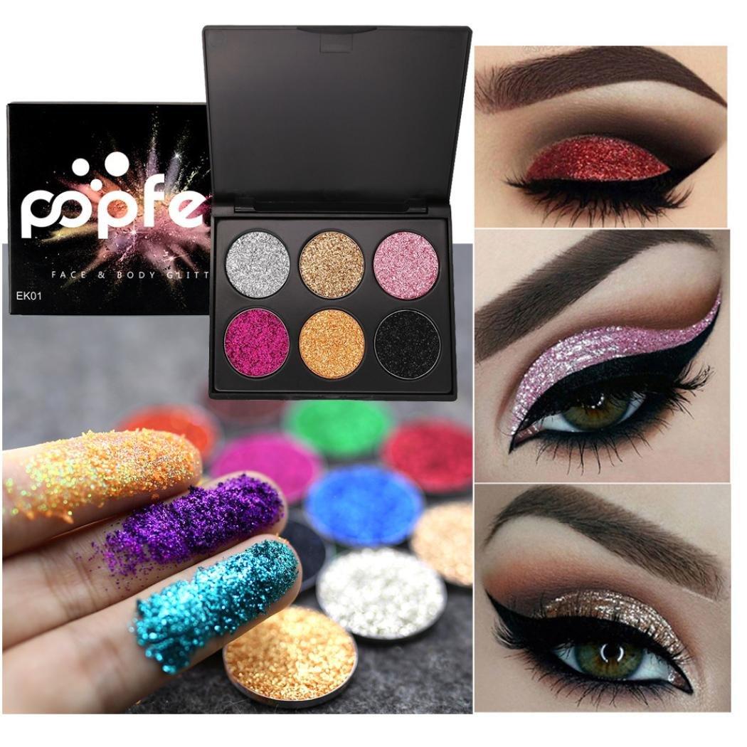 Keepfit Shimmer Glitter Eye Shadow Powder Palette Matte Eyeshadow Cosmetic Makeup 6 Colors (A)