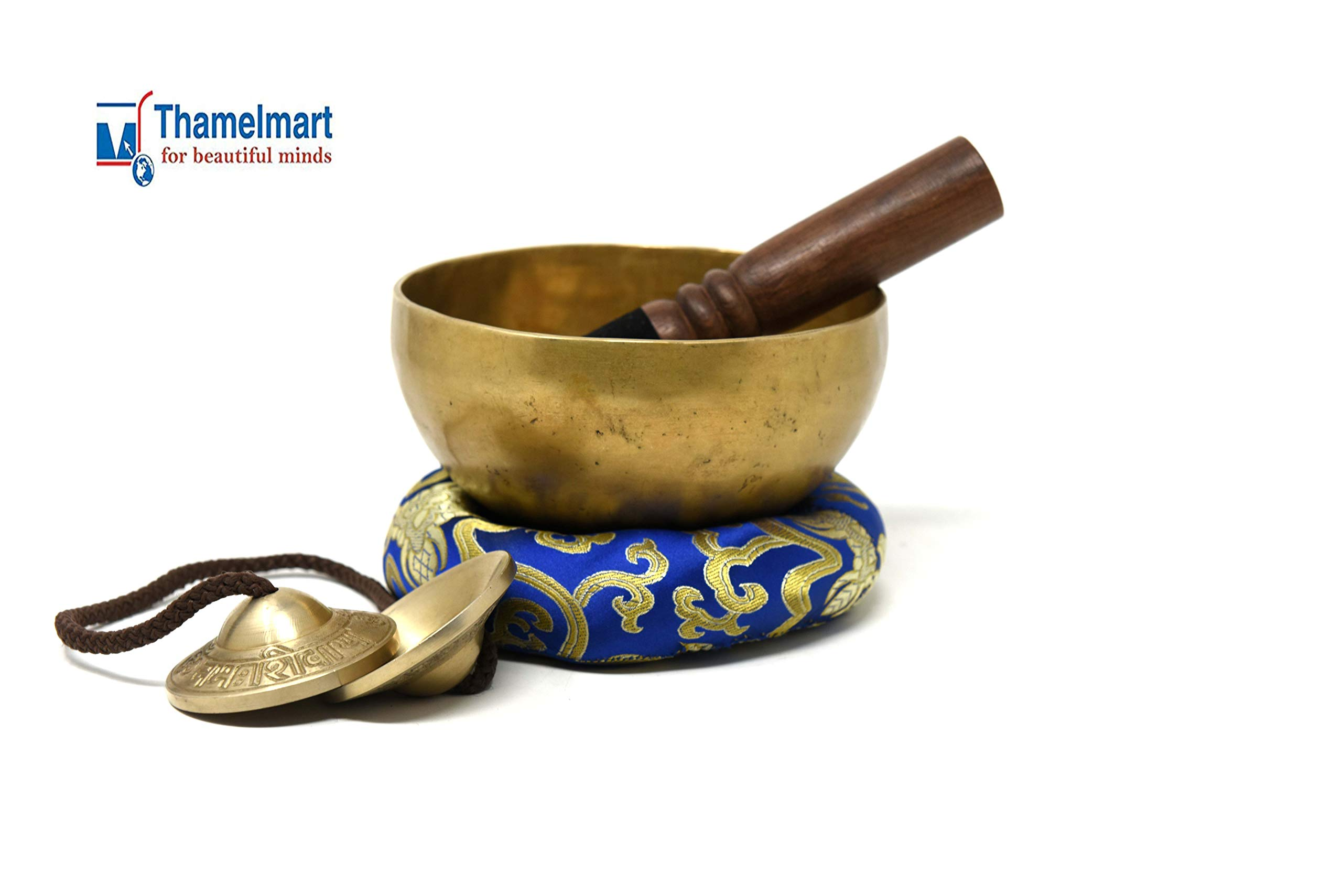5.5'' Tibetan Singing Bowl for Meditation, Sound Healing, Yoga & Sound Therapy. Made of 7 metals. Silk Cushion, Wooden Mallet, Box & Tingsha included by thamelmart by TM THAMELMART FOR BEAUTIFUL MINDS