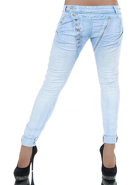 Damen Jeans Hose Boyfriend Damenjeans Harem Baggy Chino Haremshose L368, Größen:38 (M), Farben:Hellblau