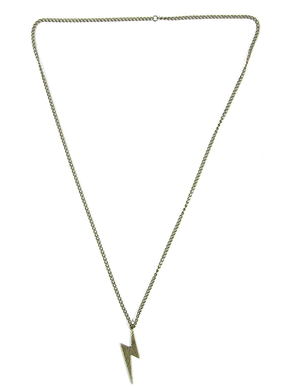 Magic Metal Lightning Bolt Necklace Retro Zap Flash Storm Gold Tone NC53 Retro Pop Pendant Fashion Jewelry