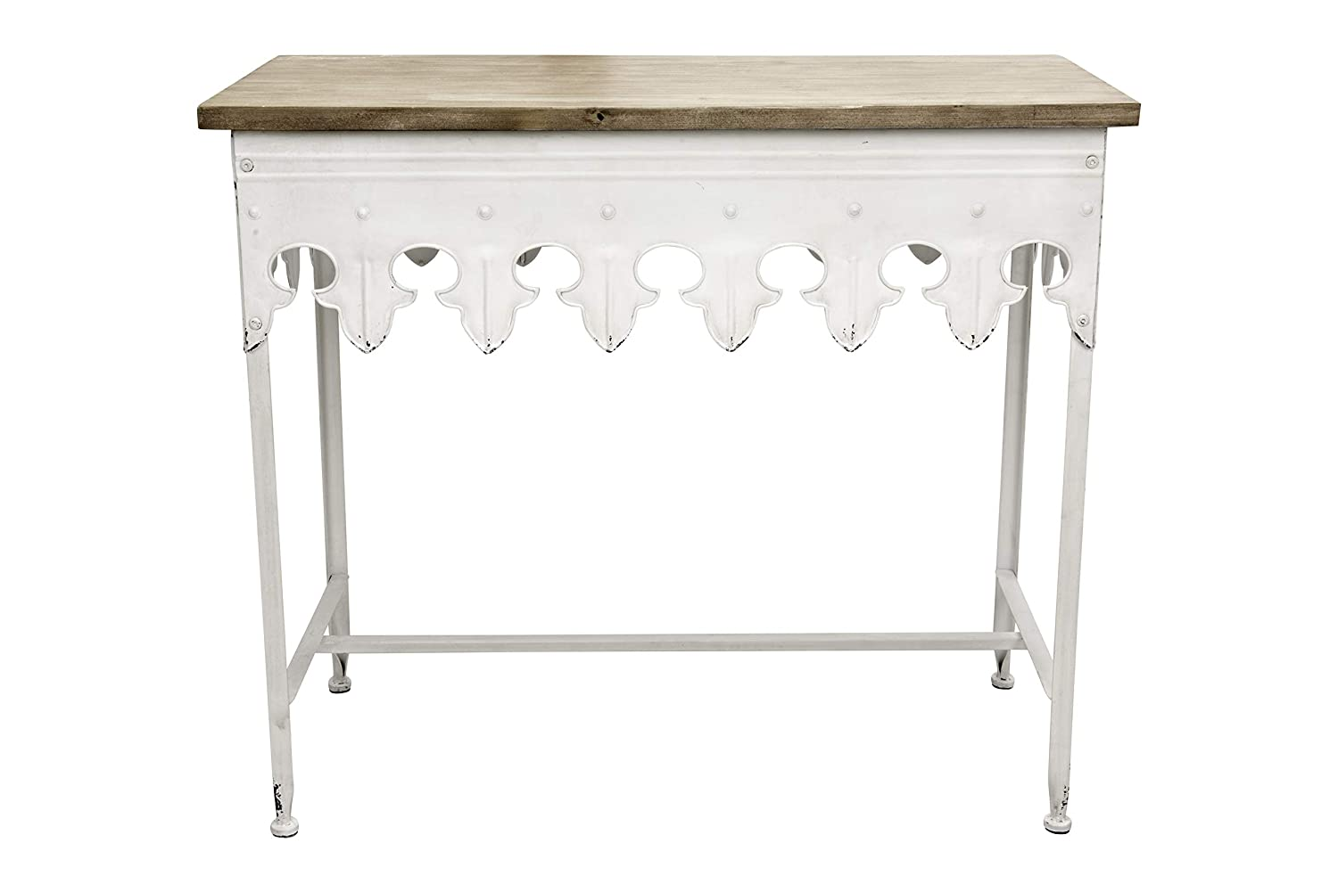 Creative Co-op Metal Scalloped Edge Table Wood Top, Antiqued White