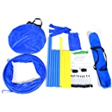 Pawhut Dog Obstacle Agility Training Kit - Blue and Yellow
