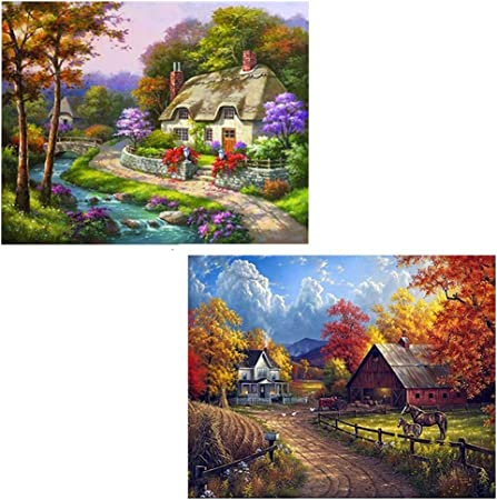 Diamond Painting Kits Full Drill Embroidery Cross Stitch Arts Craft for Home Wall Decor kuou DIY 5D Diamond Painting Kits Wooden Cabin, 40 x 30CM