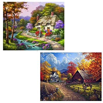 Chougui 2 Pack 5D Full Drill Diamond Painting Village Farm Country Cottage 72f267572295