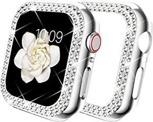 DABAOZA Compatible for Apple Watch 38mm Case Bumper, Bling Women Girl Dressy Crystal Diamonds Hard Glossy Shiny Crystal Rhinestone Protective Frame for iWatch Case 38mm Series 3/2/1 (Silver, 38mm)