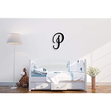 XL Wall Decor Letters Uppercase P | 24  Wood Paintable Script Capital Letters for Nursery, Home Décor, Wedding Guest Book and More by ROOM STARTERS (P 24  Black 3/4  Thick)