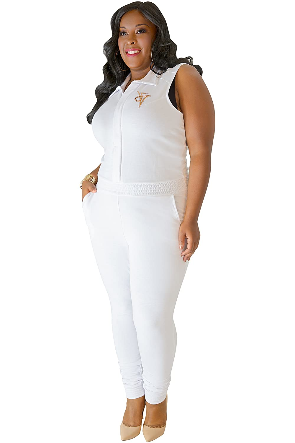 d434de037b2 Amazon.com  Poetic Justice Plus Size Curvy Womens White Sleeveless Stretch  Collared Jumpsuit  Clothing