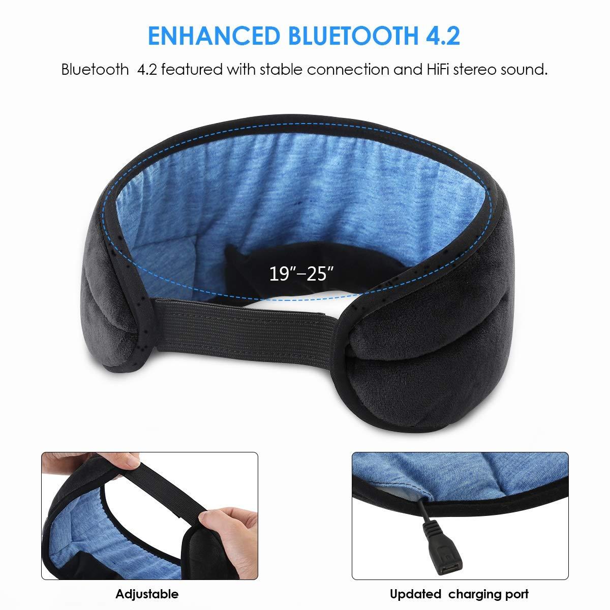 Jinxuny Bluetooth Sleeping Eye Mask Headphones Sleeping Voyage Musique Eye Cover Wireless Masque de Sommeil Lavable Ultra Confortable Masque pour Les Yeux avec des /écouteurs pour Homme Femme Dormir