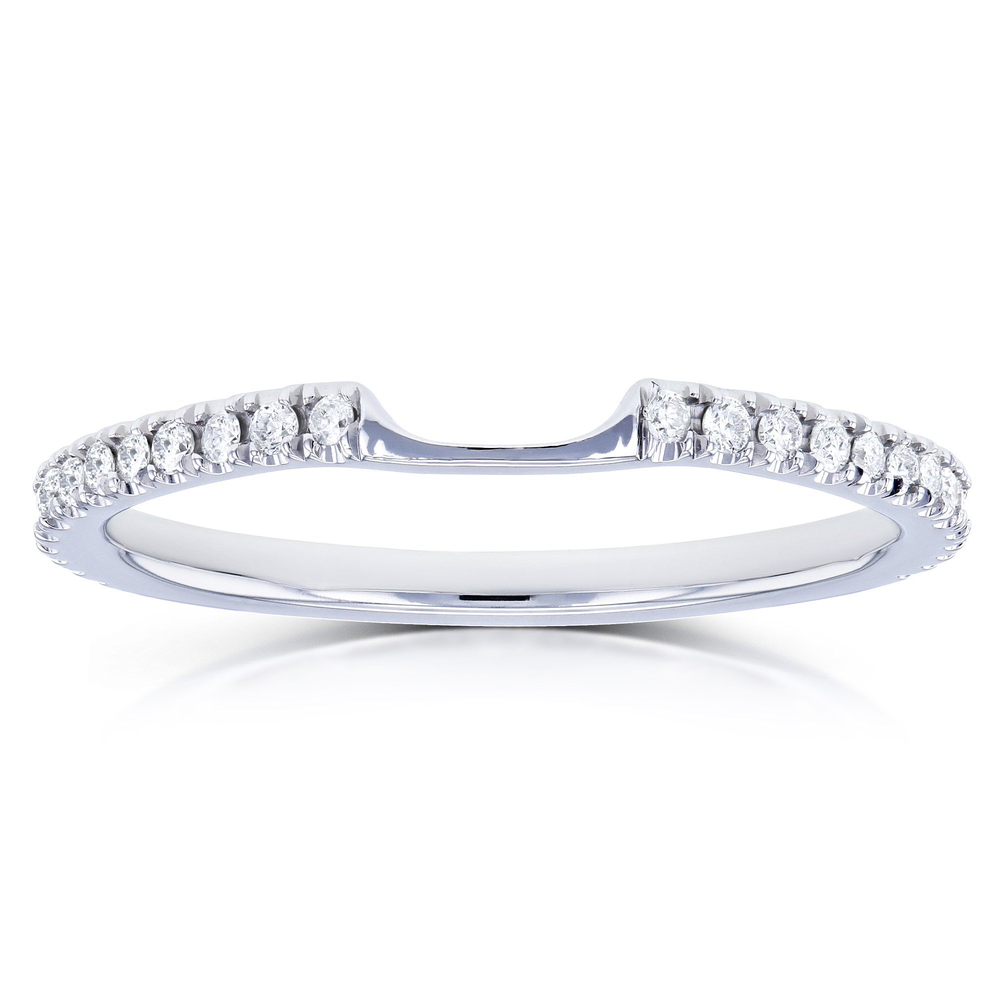 Notched Diamond Wedding Band 1/8 Carats (ctw) in 14k White Gold, Size 5.5, White Gold