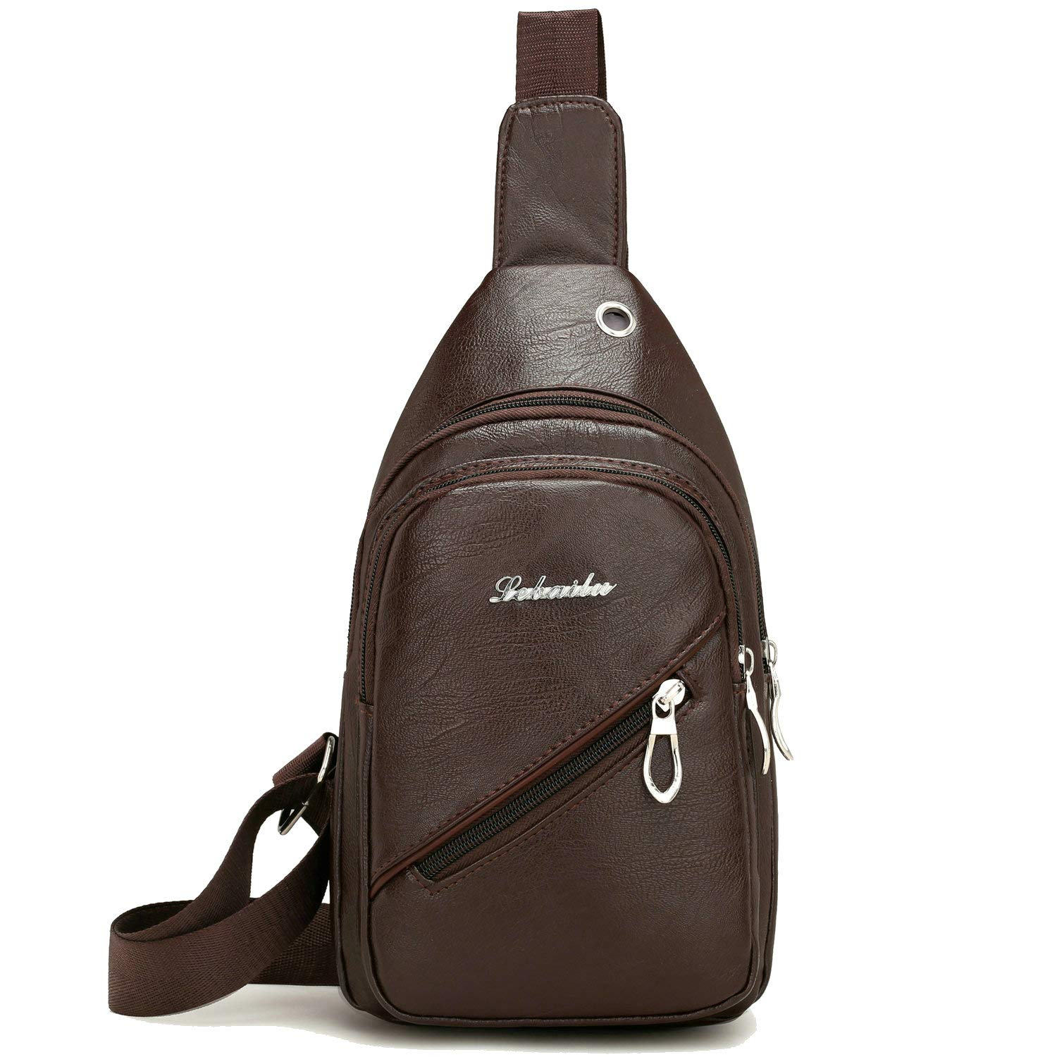 eb463520ef84 Leather Chest Sling Bag for Men Women, Small One Shoulder Crossbody ...