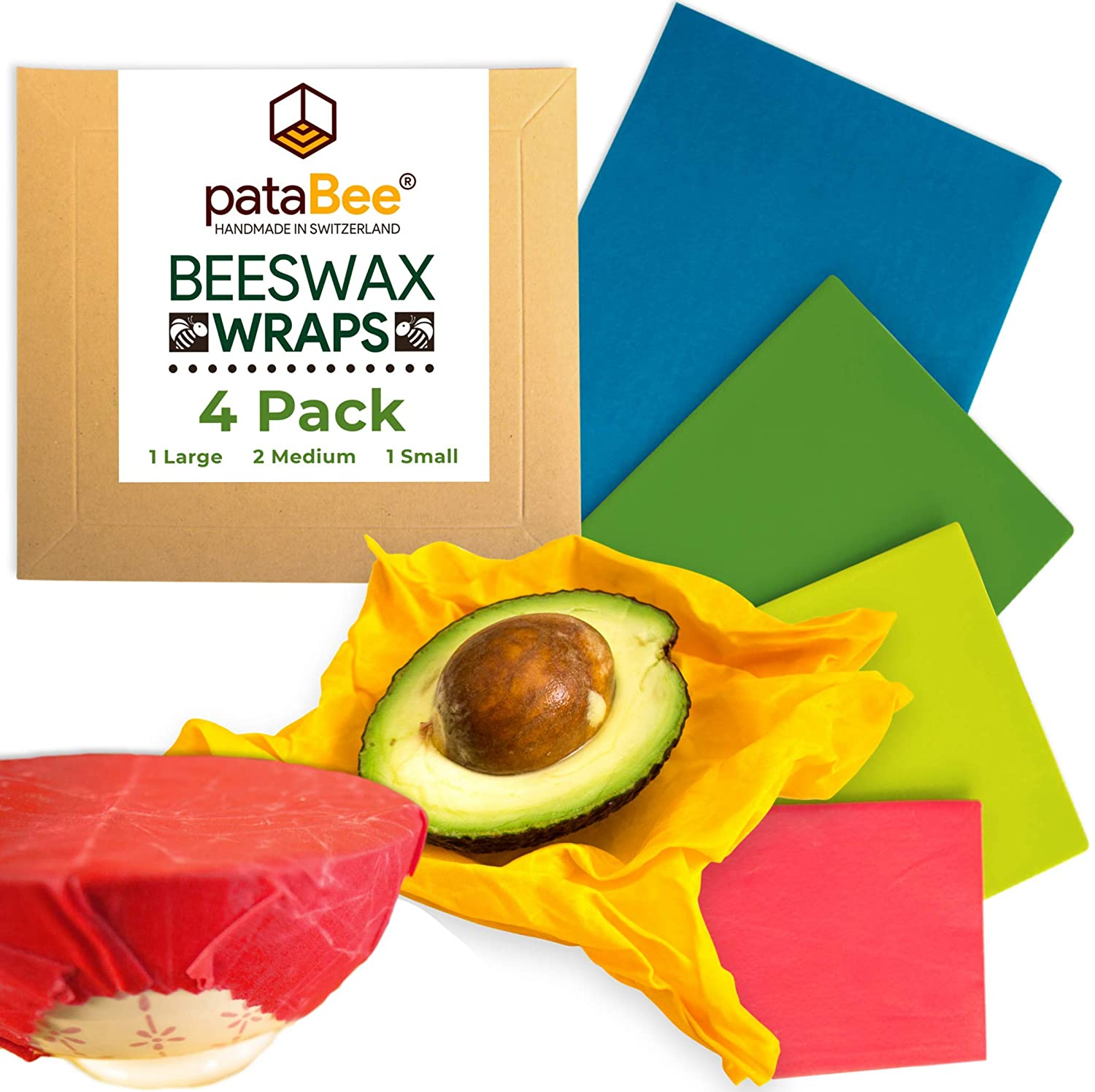 Beeswax Wrap Reusable Food Wrap - Handmade in Switzerland - PataBee Reduce  Plastic to Zero Waste - Organic, Sustainable,Eco-Friendly and Biodegradable