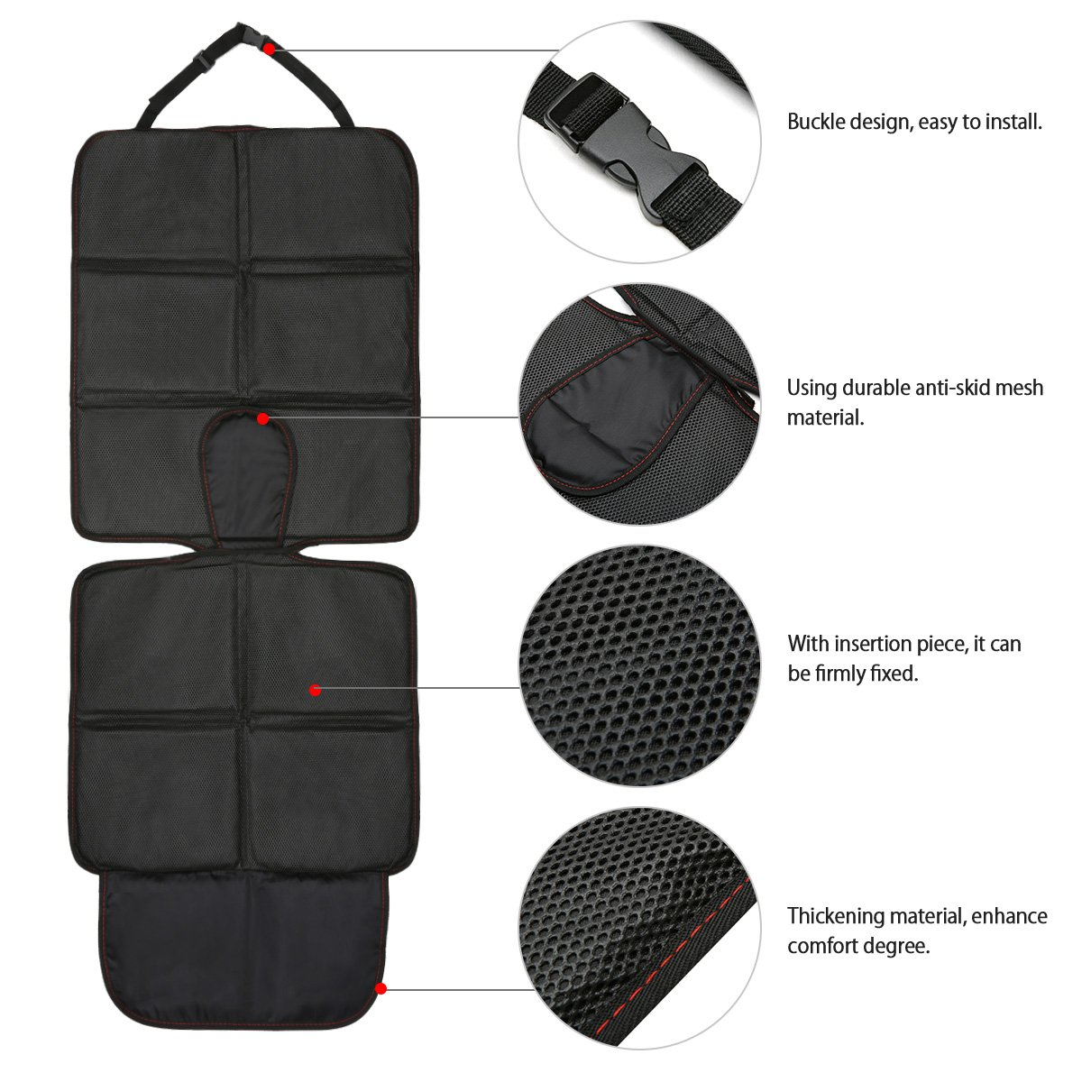 MATCC Car Seat Protector Mat With Storage Pockets Auto Leather Anti Slip Protection