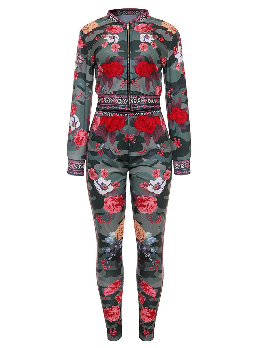 2 Piece Outfits for Women Stretch Long Sleeve Floral Print Blazer + Bodycon Long Pants Green, X-Large