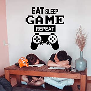 Gamer Wall Decals Eat Sleep Game Repeat Quotes Wall Stickers for Kids Room, Game Controller Wall Posters Vinyl Video Game Wall Decor for Boys Bedroom Game Room