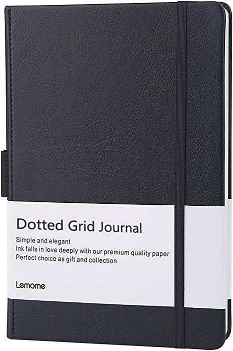 Dotted Bullet Notebook with Pen Loop - Elegant Black Leather Notebook with Premium Thick Paper (A5) - Lemome Best Gift for You