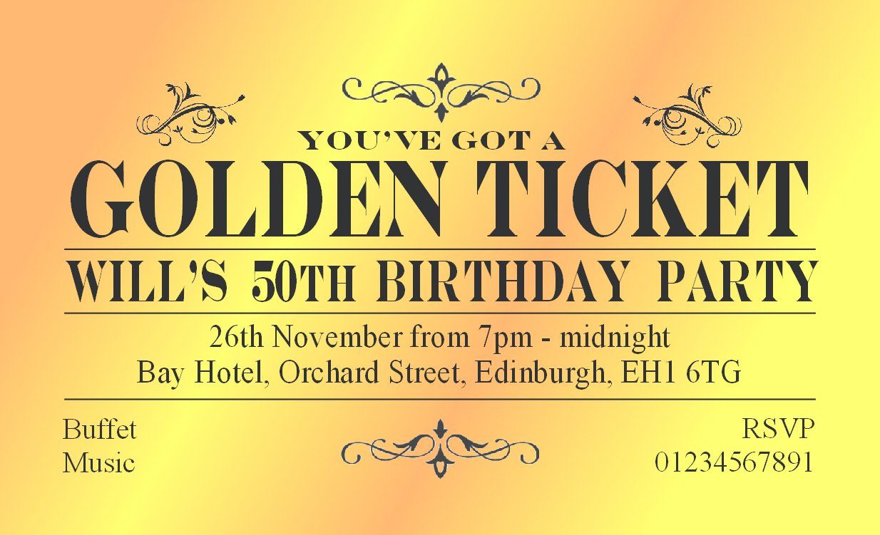 50 BIRTHDAY INVITATIONS Personalised for You. MAGNETIC Golden Ticket ...
