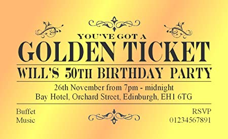 50 BIRTHDAY INVITATIONS Personalised For You MAGNETIC Golden Ticket Invites 18th 21st 30th 40th