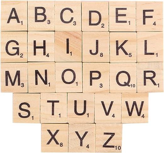 Bocotoer Letras de Scrabble de Madera de Repuesto, Letras de Madera en inglés, fichas de Letras, para Juegos, Paquete de 100 Unidades: Amazon.es: Hogar