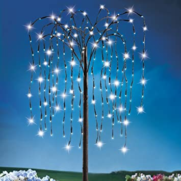 Solar Outdoor Willow Branch Tree, 4 1/2 Feet Tall, 200 LED Lights