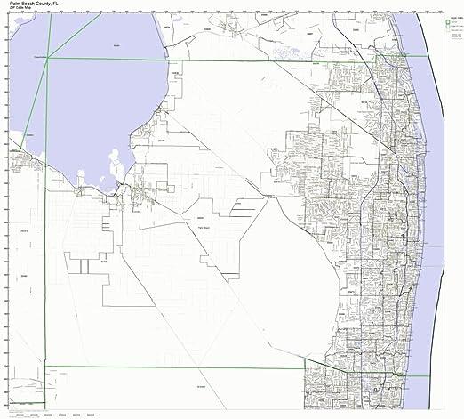 Palm Beach Zip Code Map Amazon.com: Working Maps Palm Beach County, Florida FL Zip Code