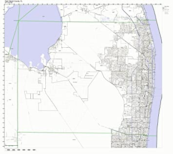 Map Of Palm Beach County Florida.Amazon Com Palm Beach County Florida Fl Zip Code Map Not Laminated