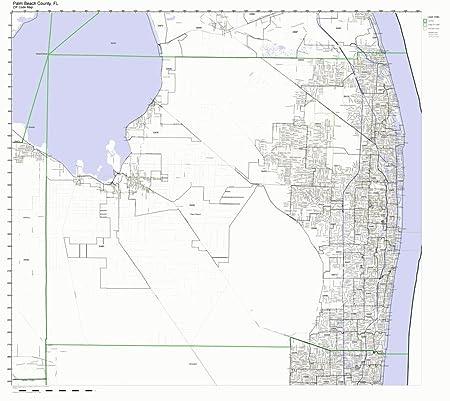 Palm Beach Fl Zip Code Map.Amazon Com Palm Beach County Florida Fl Zip Code Map Not Laminated
