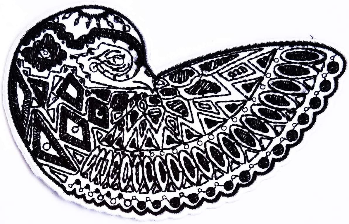 amazon com parita black white peacock bird cartoon embroidered sew on patch appliques jeans jacket backpack t shirt badge cloth repair decorative craft amazon com