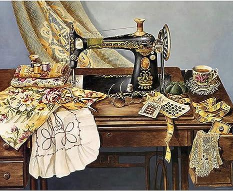 Bduco - Máquina de coser 5D bricolaje diamante redondo pintura bordado mosaico costura punto de cruz Kit de decoración del hogar – 5D Diamond Kit de pintura completa: Amazon.es: Juguetes y juegos