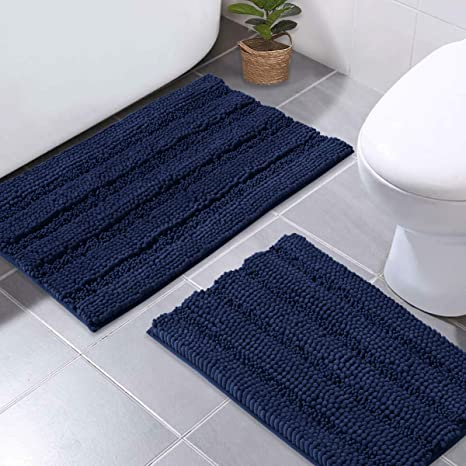 Amazon Com Nicetown Navy Blue Bathroom Rugs Ultra Thick And Soft Texture Chenille Plush Floor Mats Hand Tufted Bath Rug With Non Slip Backing Microfiber Door Mat For Kitchen Entryway Pack 2 20 X 32 17 X 24