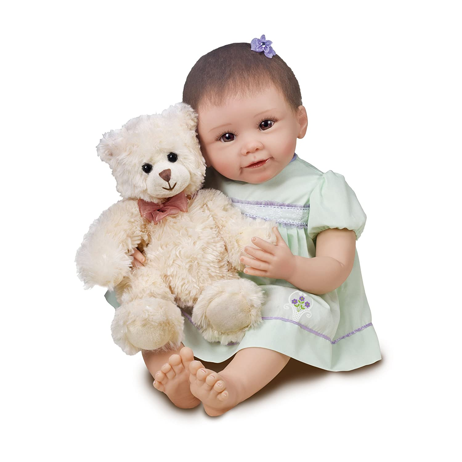 Ashton Drake - So Truly Real® Lifelike Newborn Baby Doll 'Lily and Grace Bear' - RealTouch™ Vinyl Skin Ashton Drake Galleries