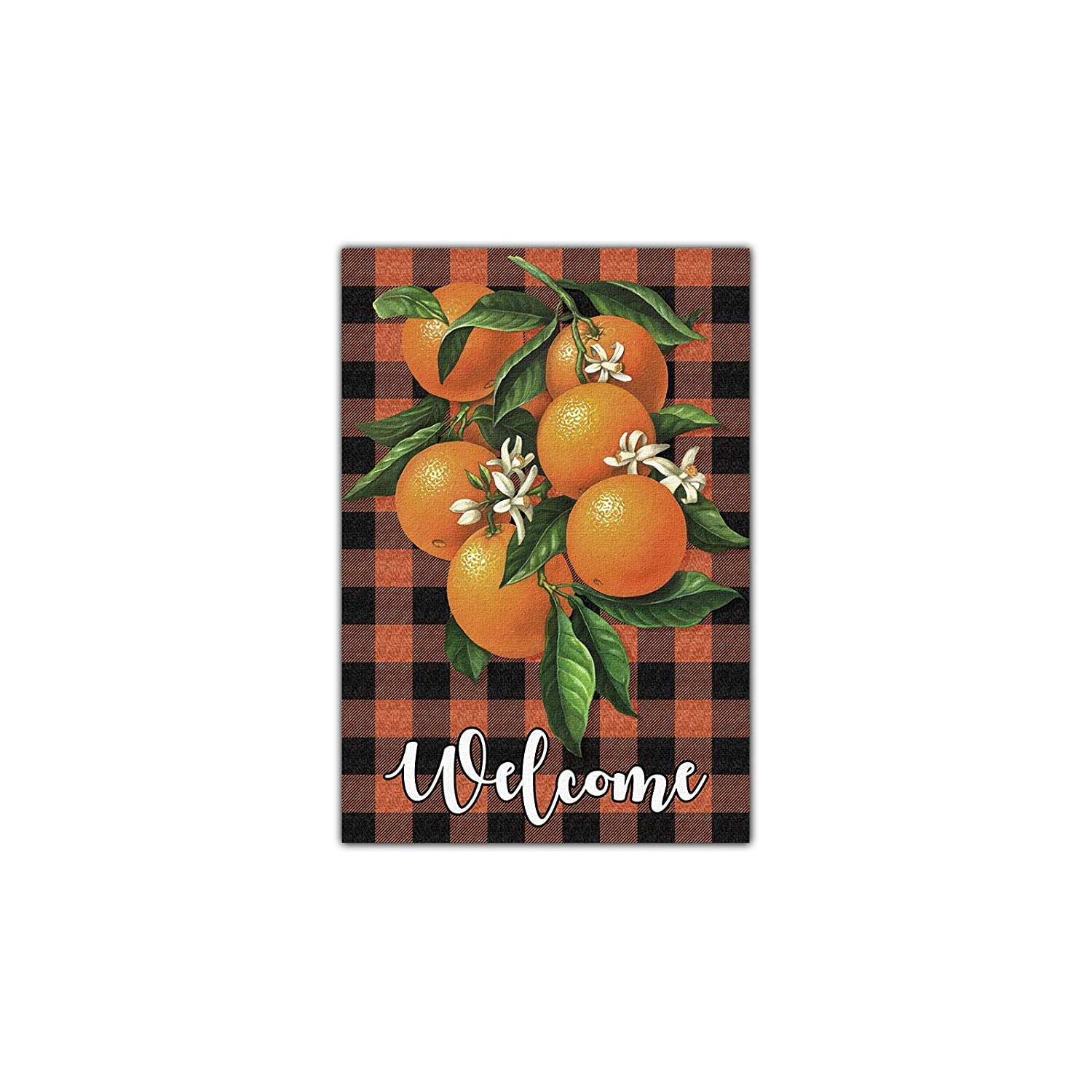 Tangerines Welcome Garden Flag, Cutie Oranges and Buffalo Plaid Garden Flag, Rustic Summer Farmhouse Yard Welcome Sign, Hello Summer Porch Home Decor -12 x 18 Inch Double Side