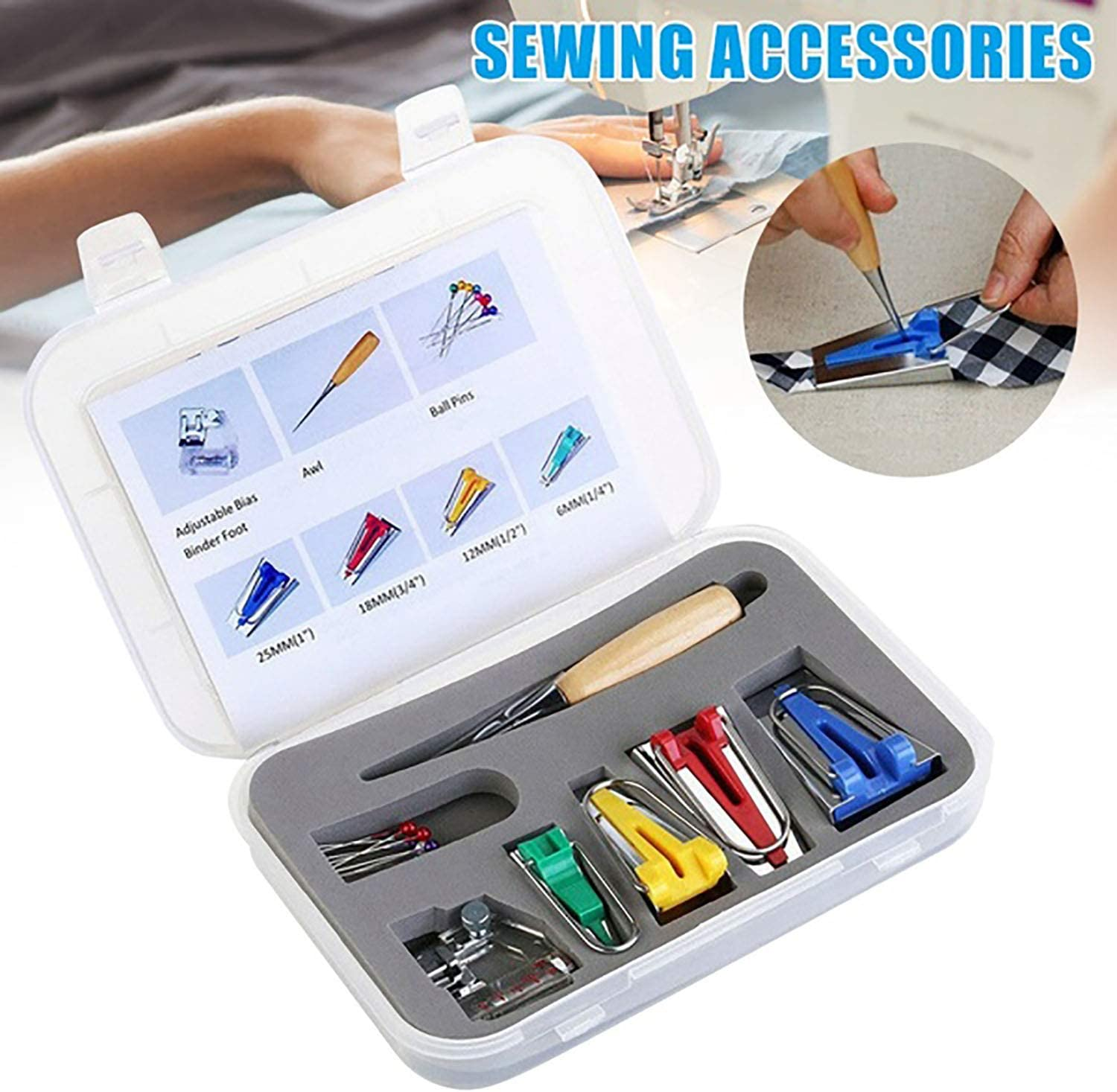 Patchwork Sewing Accessories for Sewing Quilting Awl and Binder Foot w//Case Tape Binding Presser Foot Quilting Awl Ball Pins Single//Double Fold Bias Tape Maker,Fabric Bias Tape Maker Tools