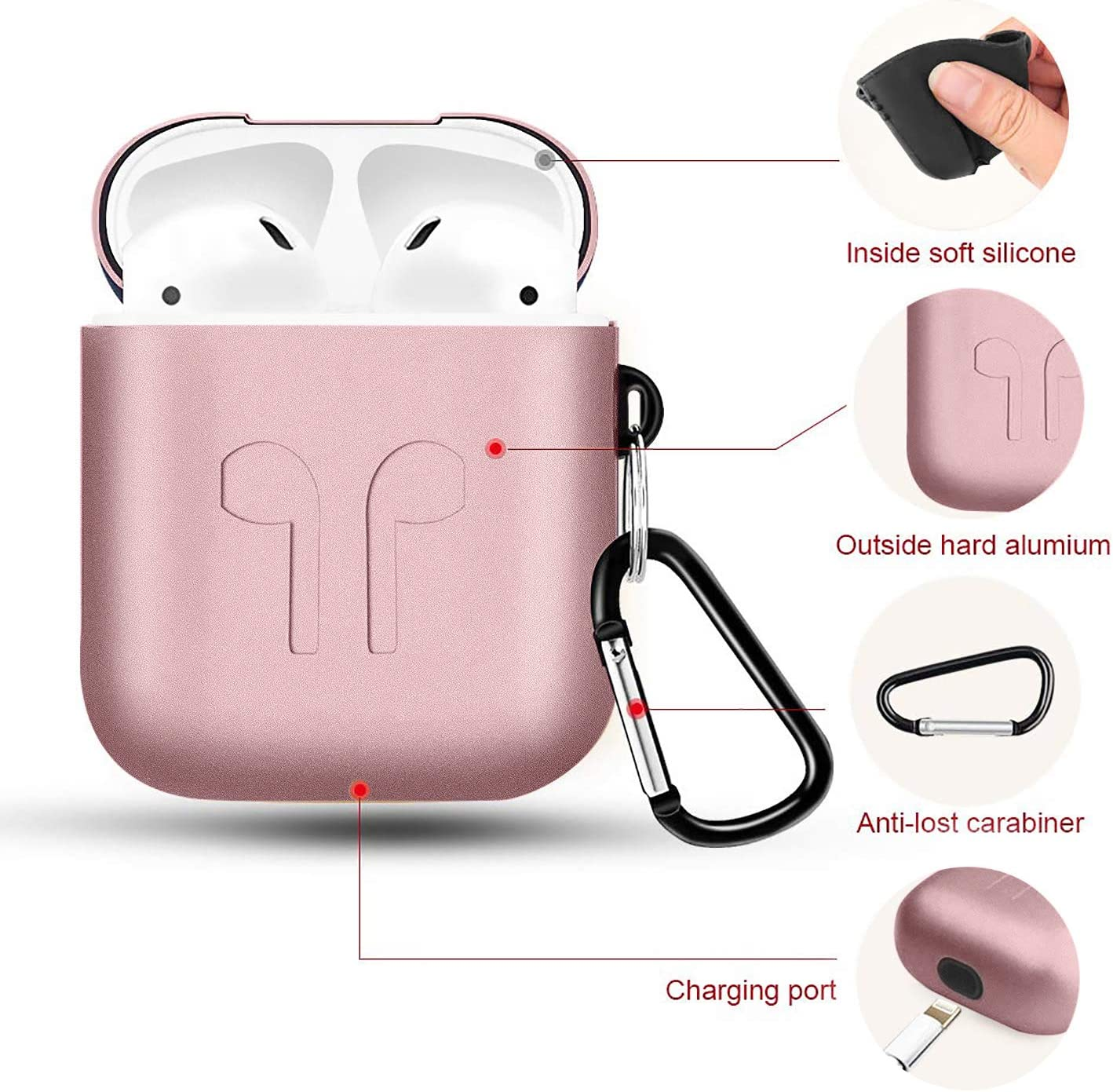 Not for Wireless Charging Case Metal Airpods Case Newest Full Protective Skin Cover Accessories Kits Compatible Airpods 1/&2 Charging Case
