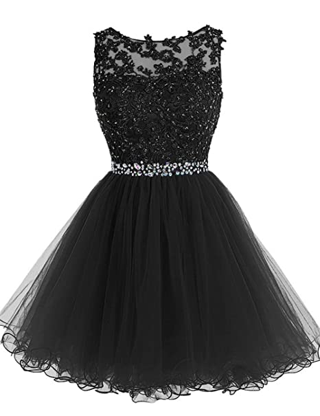 5736486bf1b96 Cdress Tulle Homecoming Dresses Short Cocktail Prom Gowns Evening Party Dress  Appliques Beads Black US 2