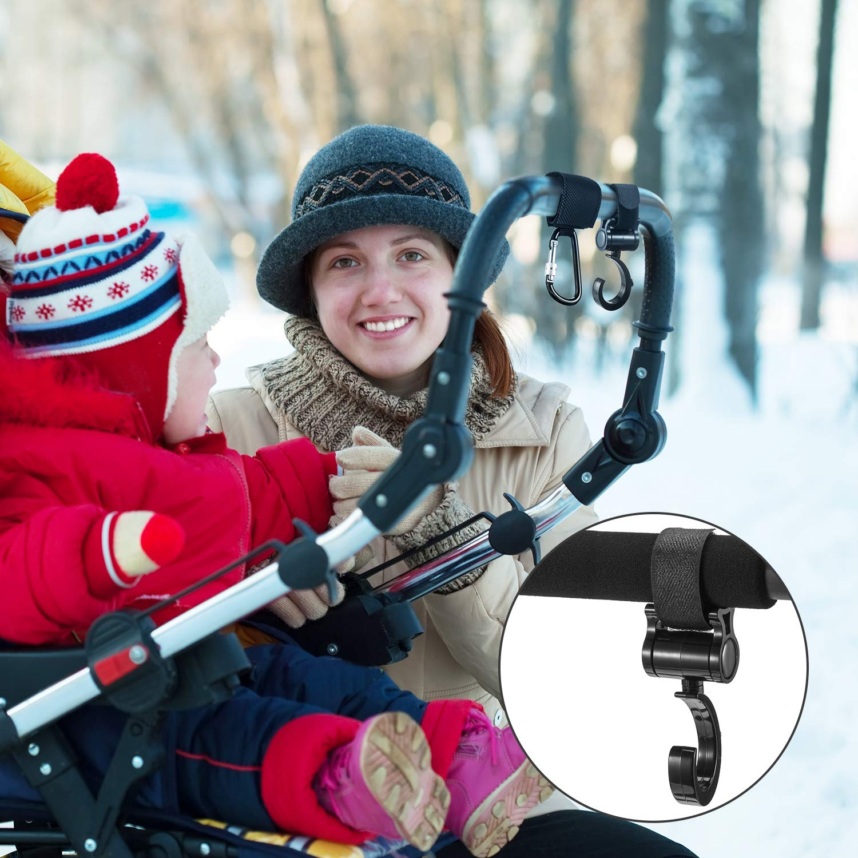 4 Piezas de Gancho de Carrito Ganchos de Multiuso Colgador para Bolsas de Pañales de Bebés Bolsa de Compra Accesorios para Caminantes Madres